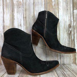 Donald J Pliner Pablo Blue Leather Western Boots